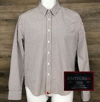 UNTUCKit Mens Slim Fit Gray White Gingham Plaid Long Sleeve Button Front Shirt S