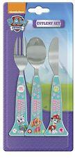 Paw Patrol Girls 3 Piece Triangle Shaped Cutlery Set