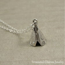 Silver 3D Tepee Tipi Charm Necklace - Soutwestern Native American Jewerly NEW