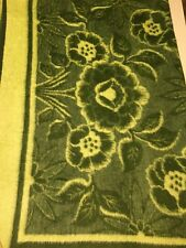 Acryl Velours Green Floral Throw Reversible 58x74 Flawed Vintage