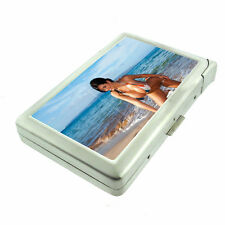 Beach Pin Up Girls D4 Cigarette Case with Built in Lighter Metal Wallet