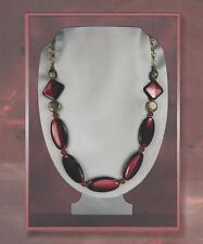 Nouveau Antique Style Burgundy Lacquer Oval Bead Necklace & Earring Set 4312