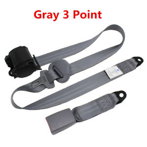 3 Point Retractable Car Front Seat Belt Buckle Kit Automatic Safety Straps Gray