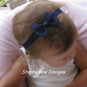 Navy Blue Sheer Dainty Hair Bow Headband FITS Preemie Newborn Baby Toddler Fall