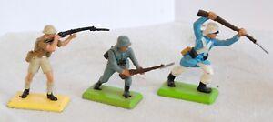Britains deetail 3 soldats WW2 british et german fusil baïonnette