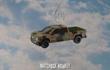 Army Camo '15 Chevy Silverado 1500 Crew Cab Pickup Truck Christmas Ornament 1/64