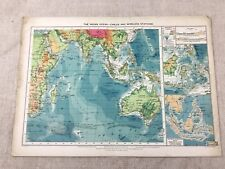 Vintage Map The Indian Ocean Cables Wireless Stations Original 1920s