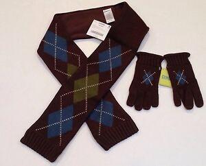 NWT Gymboree Arctic Adventure Brown Argyle Fleece Lined Scarf & Size 5-7 Gloves