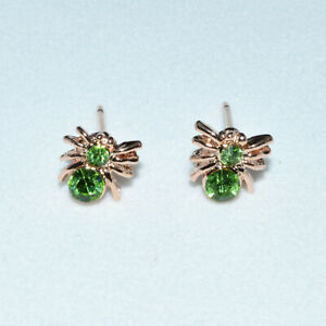 Pair 14K/14ct Rose Gold Plated Cute Spider Green Crystal Stud Earrings Gift UK