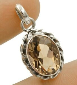 """2CT Smoky Topaz 925 Solid Sterling Silver Pendant Jewelry 1 1/5"""" Long K3-1"""