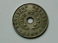 Southern Rhodesia (British Colonial Africa) 1941 1 PENNY Coin with George VI