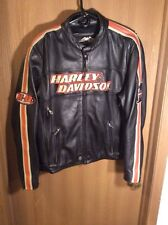 Harley Davidson Men's Rare Torque Orange Stripes Black Leather Jacket Large (L)
