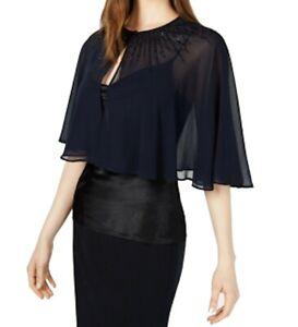 Calvin Klein Women's Jacket Navy Blue Size XL Chiffon Beaded Cape $99 #431