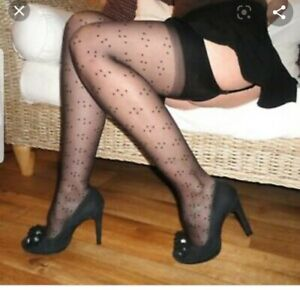 NEW vintage CHRISTIAN DIOR black designer spot design nylon stockings, one size