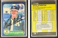 Keith Atherton Signed 1986 Fleer #410 Card Oakland Athletics Auto Autograph
