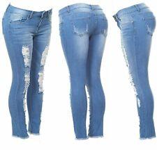 Cover Girl Women's Distressed Torn Fray Hem Skinny Jeans Blue Denim Wash