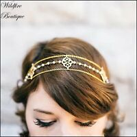 Stunning Gold & Silver Pearl Charm Chain Head Piece Bridal Formal Wear Hair Band