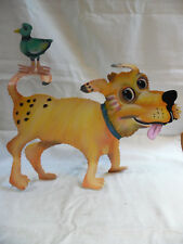 Vintage Metal Sculpture Yellow Dog With Bird By J Sumner For Ganz Bella Casa