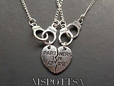 Partners in Crime Necklaces Best Friends Friendship Charm Hearts Squad Handcuffs