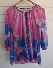Adrift Women's Pink Blue Purple Floral Top with Tassels - Size S