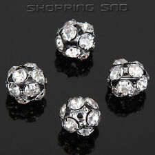 50PCS 8mm Crystal Round Rhinestone Spacer Beads Charm Hollow Rondelle Pave Loose