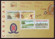 CANADA 1992 JUNIOR PHILATÉLIQUE EXPOSITION BLOC-FEUILLET TRÈS BIEN UTILISÉ