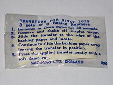 Stickers Anciens numéros de course d'origine Dinky Toys GB (Pour série 100)