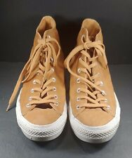 CONVERSE ALL STARS #157522C CTAS HI RAW SUGAR BROWN LEATHER SNEAKERS (SIZE 13)