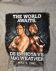 X-Large Men's New Boxing Fight Oscar de la Hoya vs Floyd Mayweather T-Shirt Grey