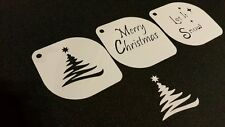 #4.1 Set of 3pcs Xmas Stencils Merry Christmas Let It Snow Tree Paint Airbrush
