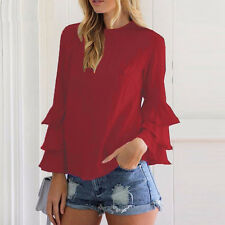 Women Ruffle Long Sleeve Blouse T-shirt Summer Casual Chiffon Tee Tops Plus Size