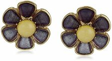 NEW BETSEY JOHNSON GOLD+PURPLE TONE DAISY FLOWER,FACETED STONE EARRINGS