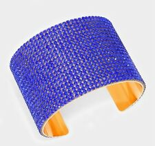 Royal Blue Gold Wide Cuff Crystal Rhinestone Wedding Pageant Formal Bracelet