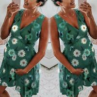 Women Maternity Pregnancy Summer Party Beach Floral V Neck Vest Sleeveless Dress