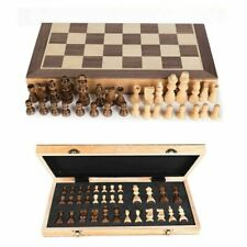 New Large Chess Wooden Set Folding Chessboard Magnetic Pieces Wood Board UK