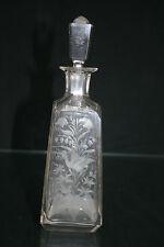 Uralter Glas - Flacon Karaffe Ölflasche geschliffen Vögel