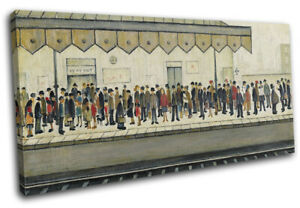 LS Lowry Train Station Vintage SINGLE CANVAS WALL ART Picture Print