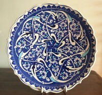 Gorgeous Hand Painted Ceramic  Turkish Plate Signed, Stand Included