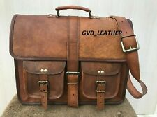 Vintage Leather Everyday Messenger bag College School Satchel book Laptop Bag