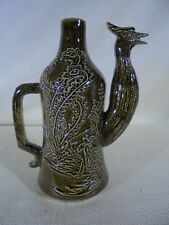 Vintage Pottery Pitcher Tobacco Juice Stain Bird Head Spout Embossed Designs