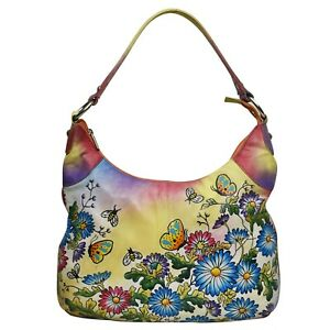 New Leather Hand Painted Women Shoulder Hand Casual  Bag Floral