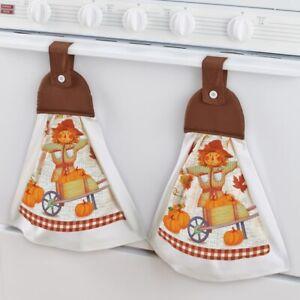 2-Piece Pumpkin Scarecrow Thanksgiving Hanging Kitchen Towel Set