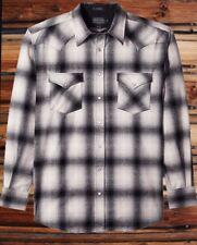 Pendleton Mens Canyon - Size XXL Tall - Black Tan Ombre Plaid Wool Shirt Nwt