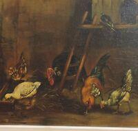 ANCIENNE PEINTURE HUILE sur bois 19ème 19 ème ANIMAUX DE LA FERME XIXème