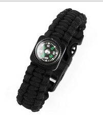f.Camping Hiking w/ Compass Scraper Whistle Flint Fire Starter Survival Bracelet