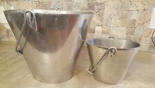 Pottery Barn Silver Alloy Aluminium Bucket Vases Set Of 2 - Thick & Heavy - NLA