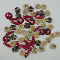 Button Lot Vintage Beige Grey & Red Round + Oval Plastic Buttons Mixed Lot