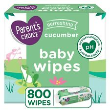 Parents Choice Cucumber Scent Baby Wipes, 8 packs of 100 (800 count) *Fast Ship*