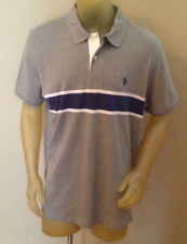 NWT $44 U.S Polo Assn Gray/Navy Striped Polo Shirt Mens XL