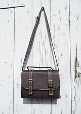 Vintage in Pelle Stile Borsa-Marrone scuro-Spalla Retrò Handbag Messenger BOX